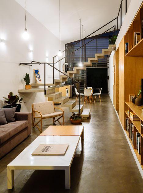 Dise o de moderna casa de dos pisos y dos dormitorios - Colores para interiores de casas modernas ...
