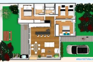 Plano 3D de casa de ciudad