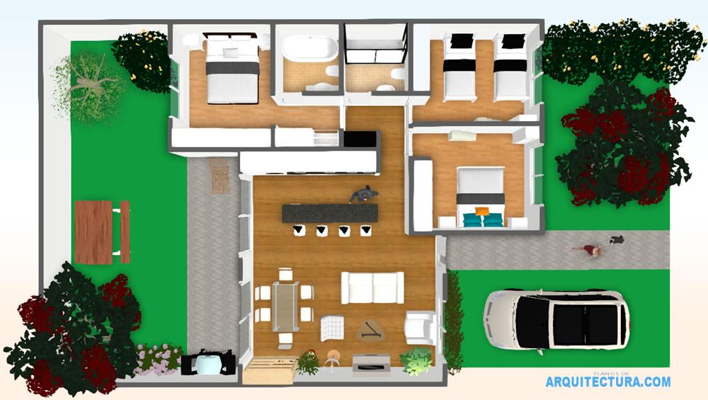 Planos de casa de un piso y tres dormitorios ideas para construir en lotes peque os planos de - Planos de casa en 3d ...