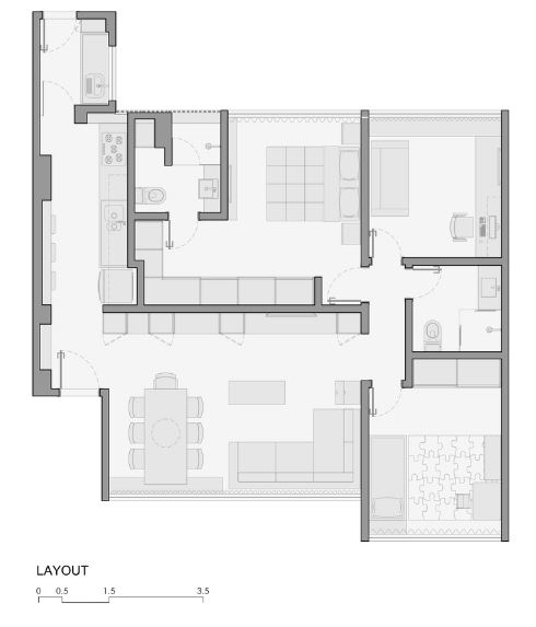 Plano de departamento de 80 metros cuadrados presenta for Departamentos arquitectura moderna
