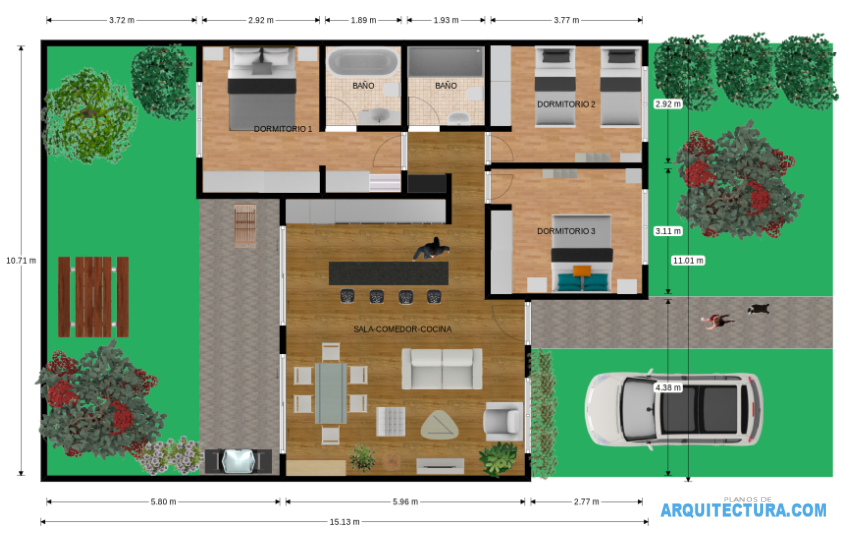 Planos de casa de un piso y tres dormitorios ideas para for Diseno de interiores de casas planos