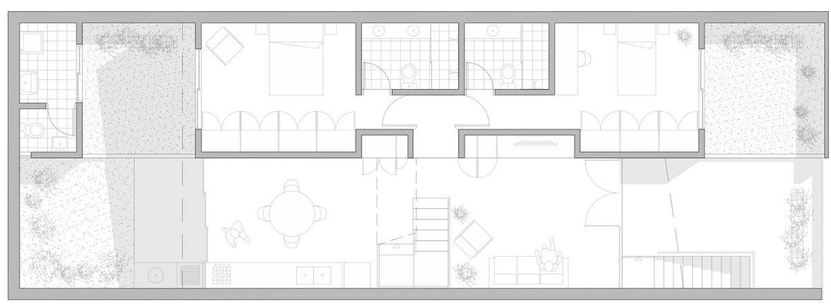 Dise o de moderna casa de dos pisos y dos dormitorios - Plano de la casa ...