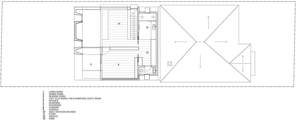 Plano del segundo nivel de moderna casa