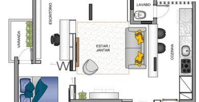 Planta del pequeño depatamento de un dormitorio