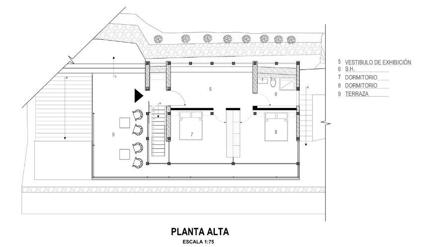 Planta del segundo nivel de la casa