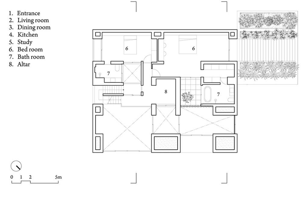 Planta del segundo nivel de moderna casa