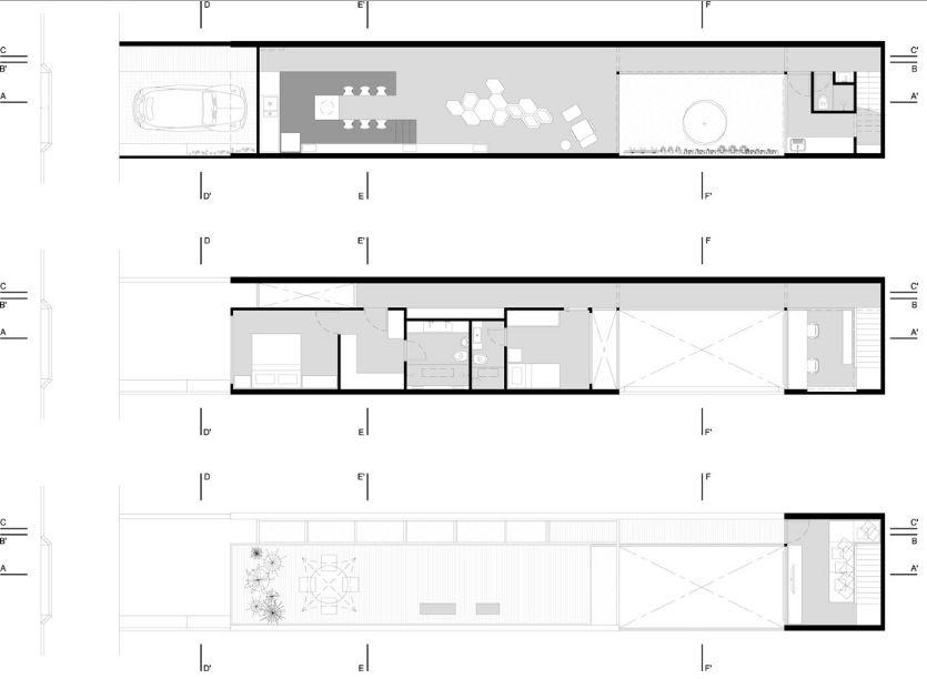 Dise o de casa de dos pisos construida en terreno largo y - Casas estrechas y largas ...