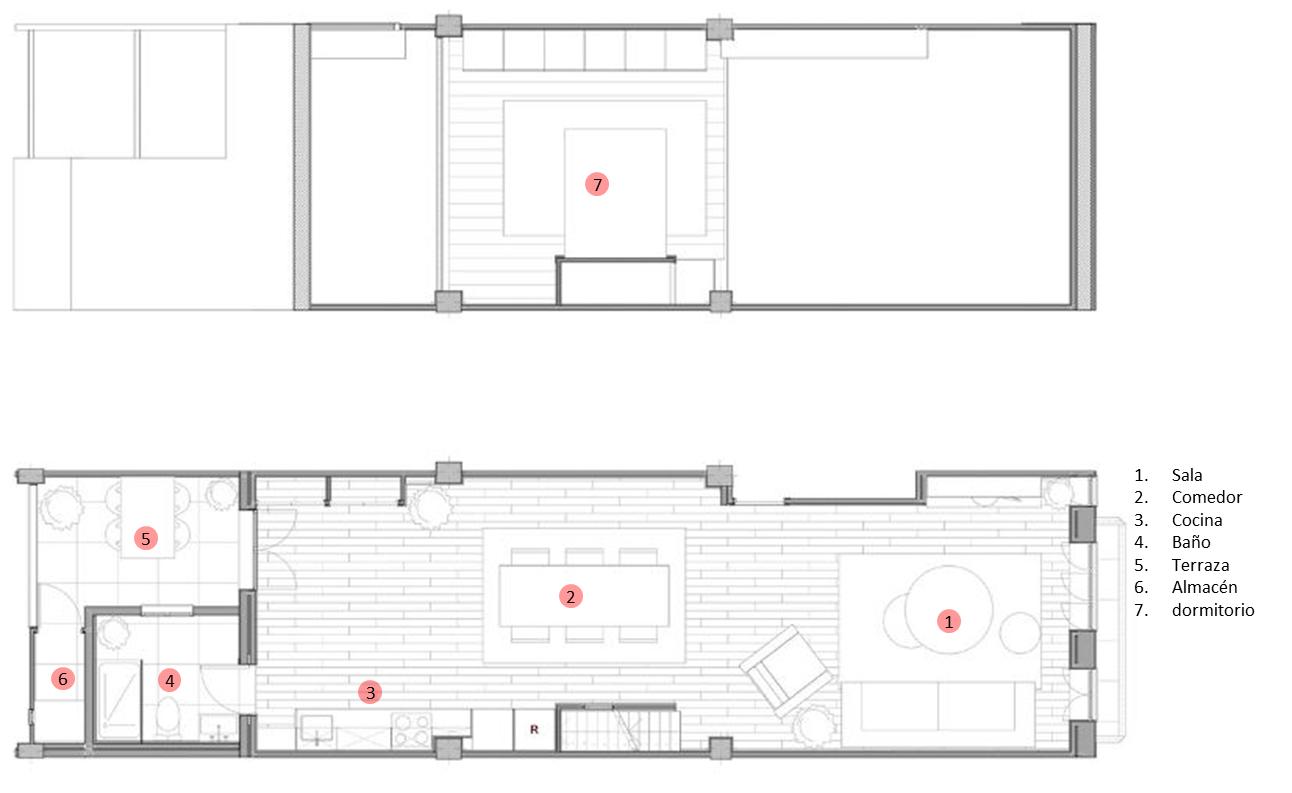 Planos De Casa De Dos Pisos Construida En Terreno Largo Y