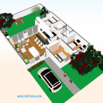 Imagen 3D de moderna casa