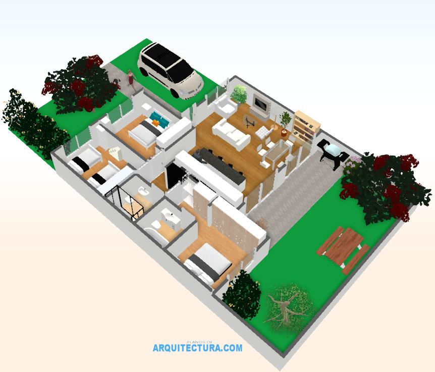 Planos de casa de un piso y tres dormitorios ideas para for Hacer planos 3d